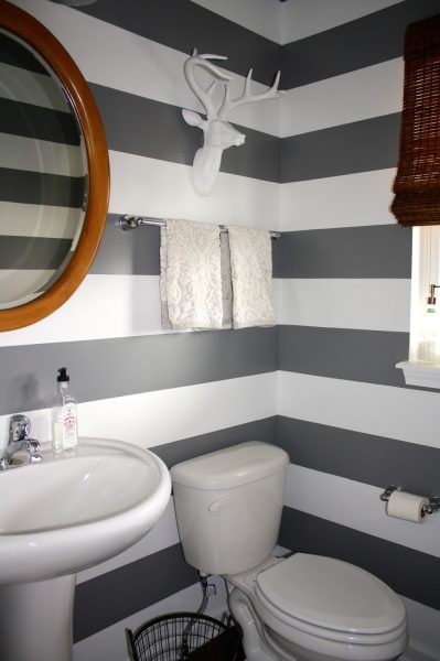 Striped powder room walls kellyelko.com