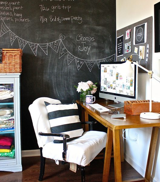 Chalkboard wall - perfect for a home office kellyelko.com