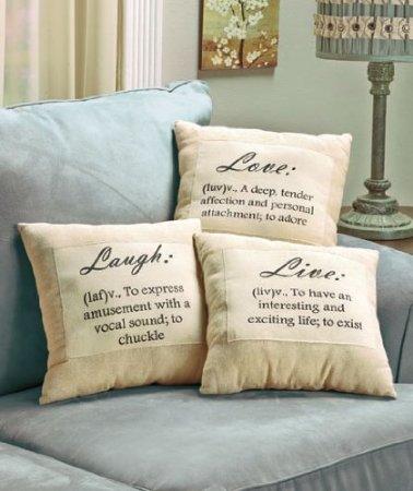 Live Laugh Love Neutral Pillows
