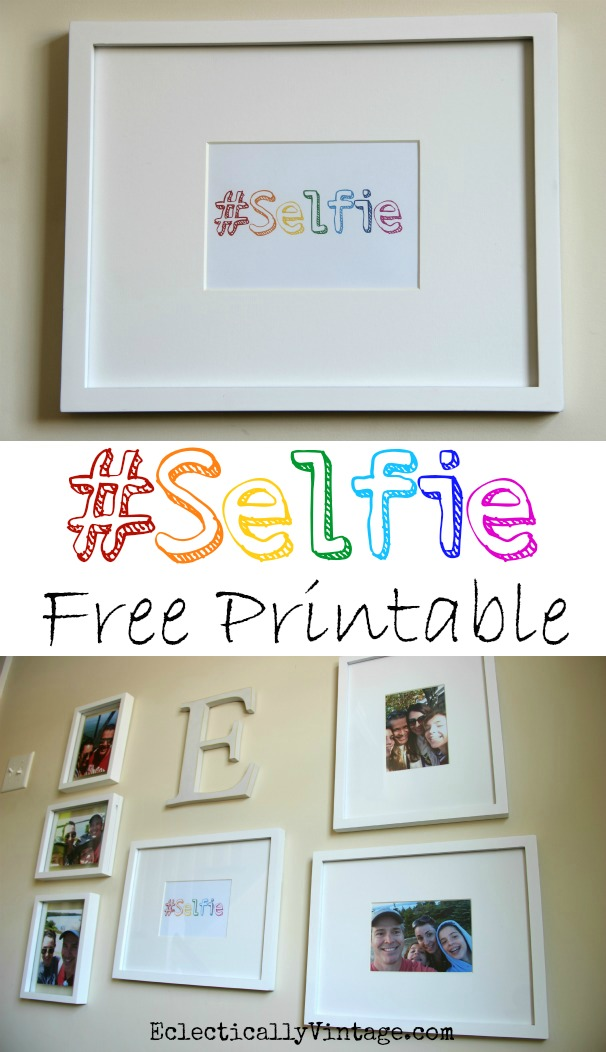 Selfie Family Gallery Wall Ideas - including the FREE Selfie printable #DamageFreeDIY