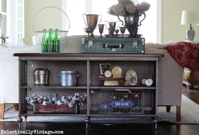 I love this vintage inspired Norton console table - perfect for displaying favorite collections eclectiallyvintage.com