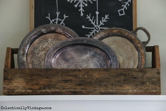 Vintage silver platters in a rustic wooden toolbox kellyelko.com