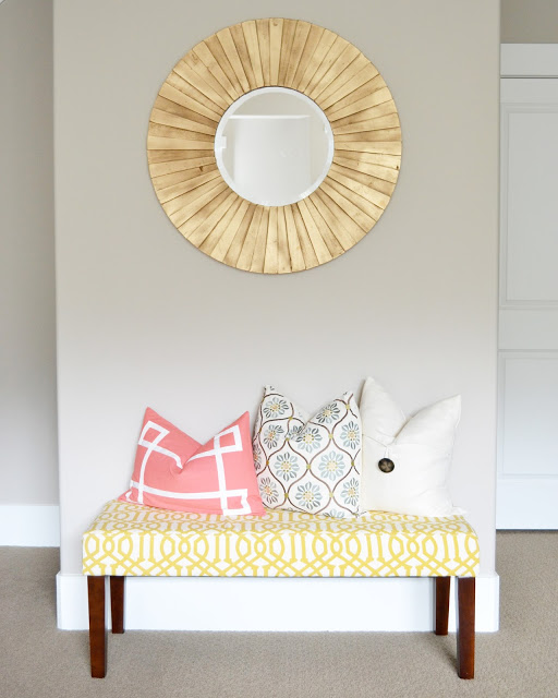 Cute upholestered bench and wood mirror kellyelko.com