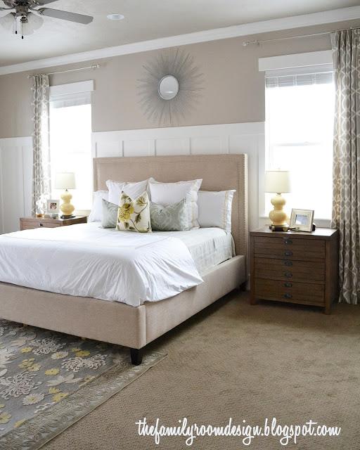 Beautiful neutral symmetrical bedroom kellyelko.com