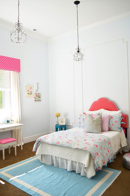 White girls bedroom gets color from fabric kellyelko.com