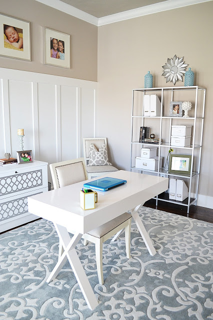Creative home office - love the floating desk and the metal shelves kellyelko.com