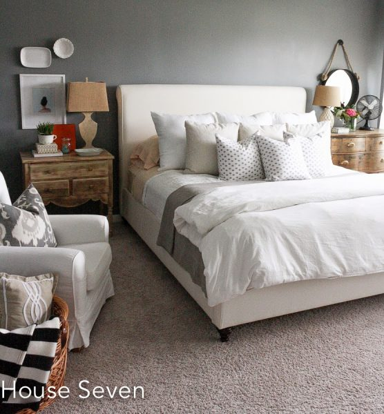 Cozy bedroom -love the gray wall color with white bedding eclectiallyvintage.com