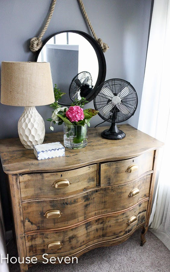 Dresser as nightstand - love the stripped down finish and brass cup pulls kellyelko.com