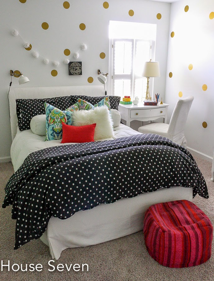 Glam girls room - love the gold dot wall and the colorful bedding kellyelko.com