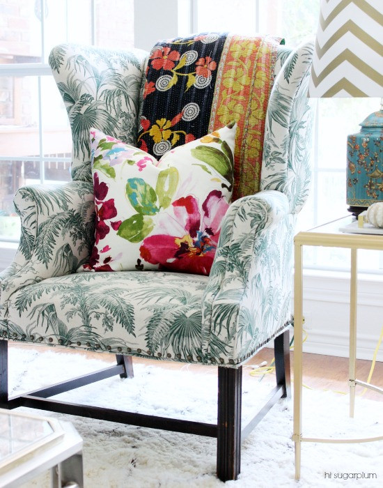 Fabulous mix of color and patterns in this chair, throw and pillow kellyelko.com