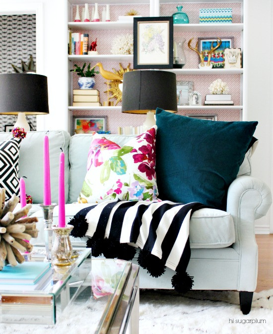 Eclectic Home Tour of Hi Sugarplum - this color and DIY filled home will inspire kellyelko.com