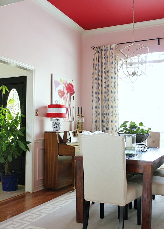 Chic dining room with red ceiling and pink walls! kellyelko.com