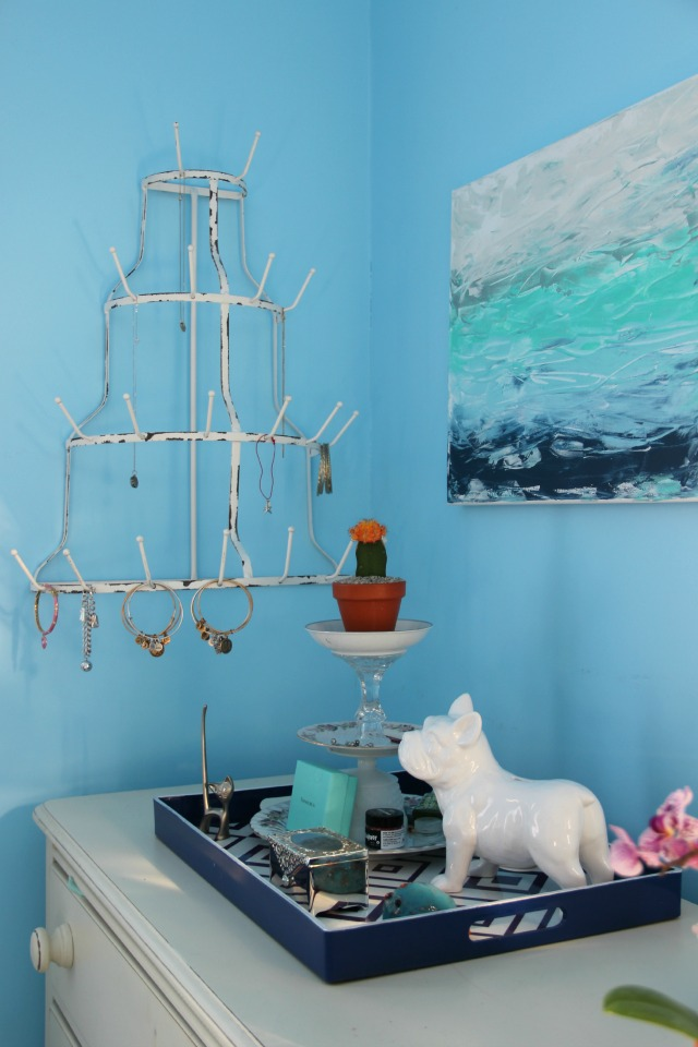 How cool - a bottle drying rack turned jewelry holder! kellyelko.com