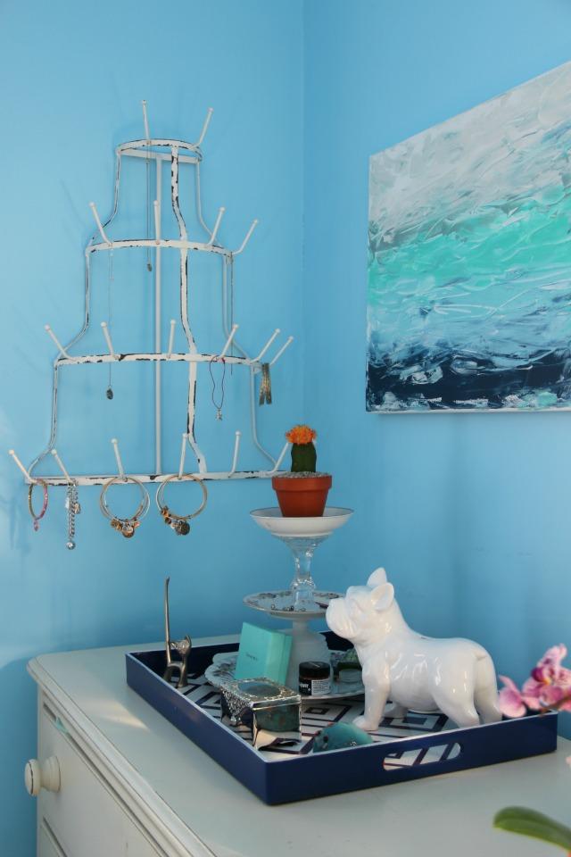 How cool - a bottle drying rack turned jewelry holder! kellyelko.com