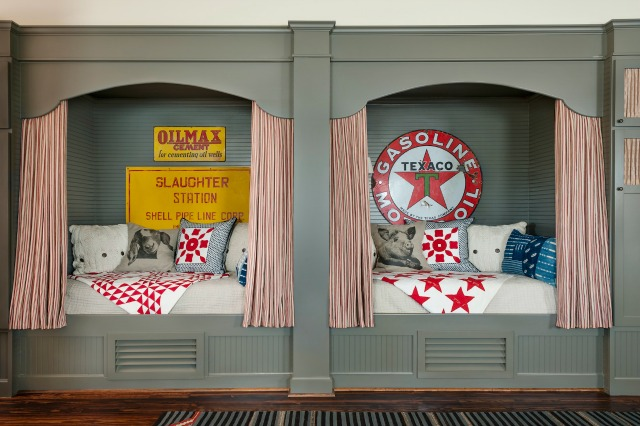 How cute are these built in bed cubbies for a kids room kellyelko.com
