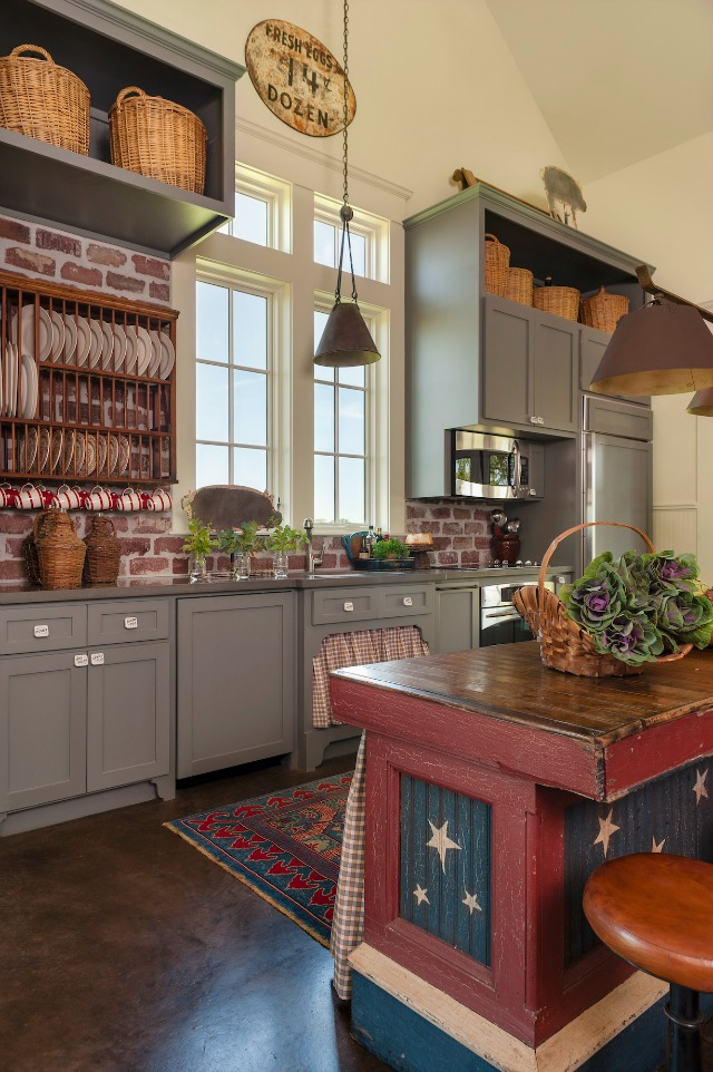 Love the color of these kitchen cabinets - and the brick backsplash kellyelko.com
