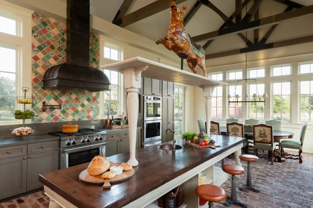 Beautiful country kitchen - love the brick floor and the colorful tile kellyelko.com