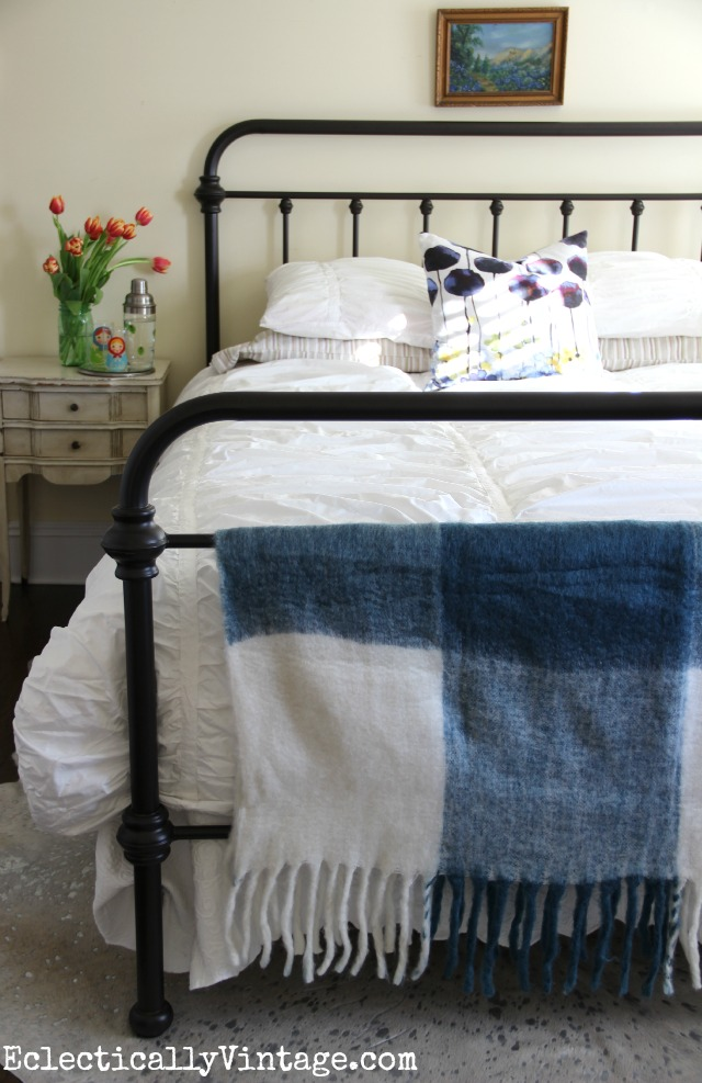 Love this beautiful bedding and the blue throw and pillow kellyelko.com