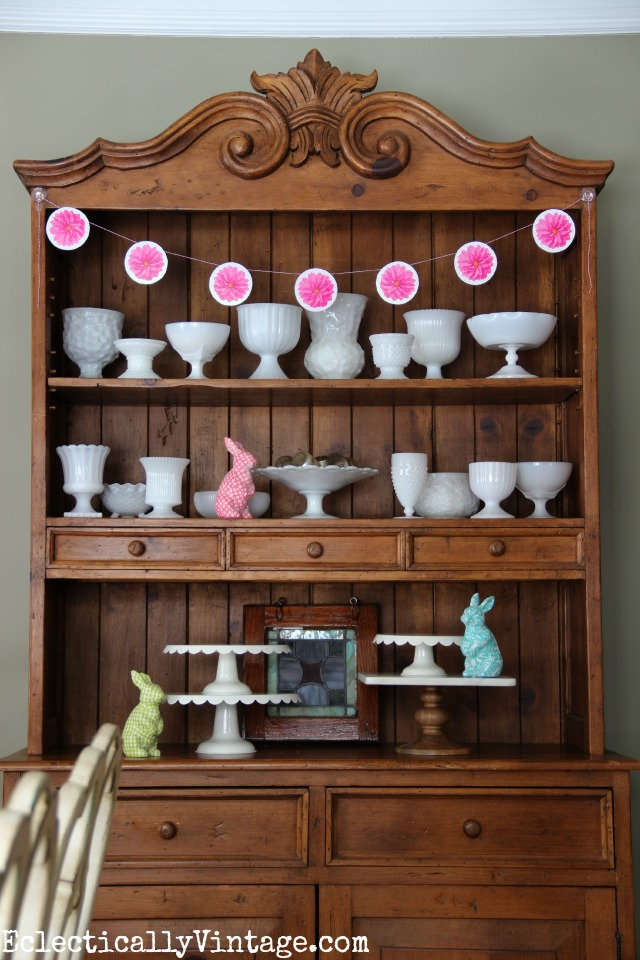 Beautiful hutch filled with milk glass kellyelko.com