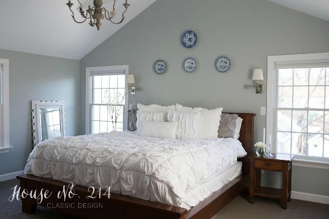 Soothing master bedroom - love the white bedding and the gray/blue walls kellyelko.com