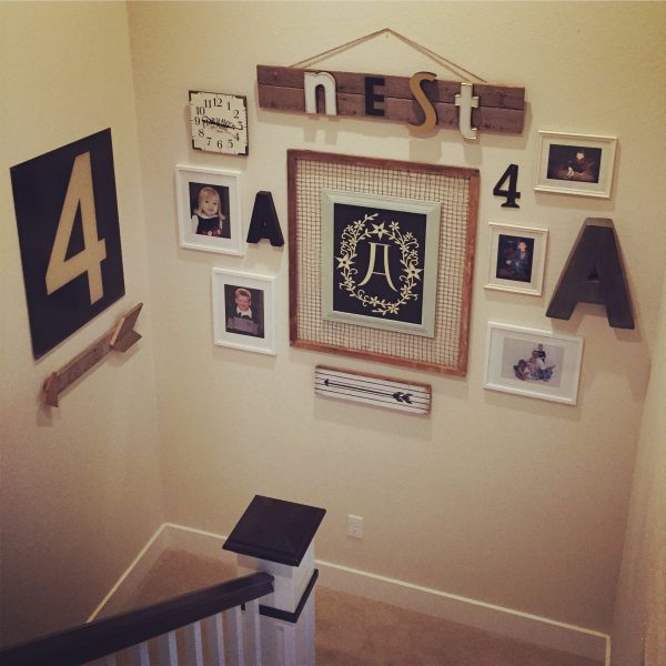 Fun staircase gallery wall - love the use of numbers and letters and mismatched frames kellyelko.com