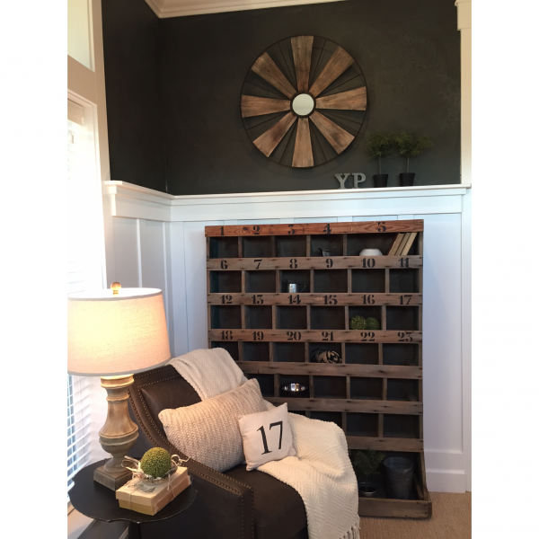 Vintage numbered cubbies lend a rustic touch to this dramatic home office kellyelko.com