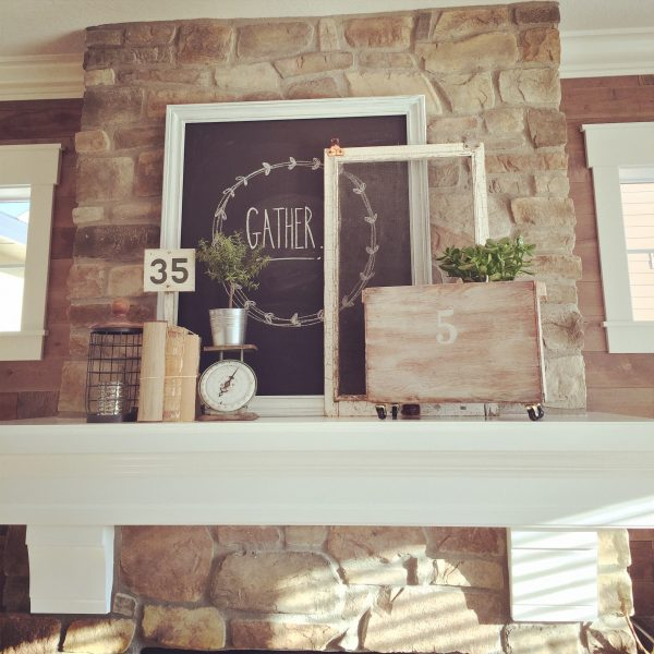 What a focal point! Love this stone fireplace with a crisp white mantel kellyelko.com
