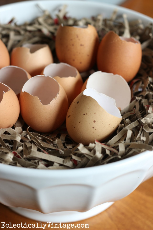Beautiful idea for using natural eggs in your spring and Easter decor - love this nest full of eggs kellyelko.com