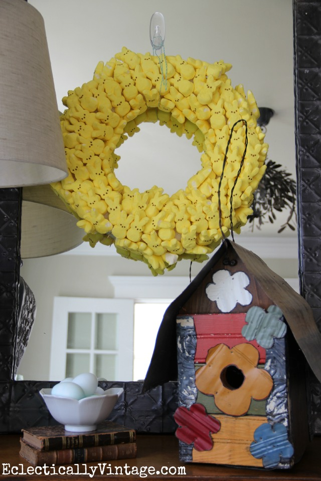 How cute is this Peeps Wreath! She made it four years ago - see how to make one that lasts kellyelko.com