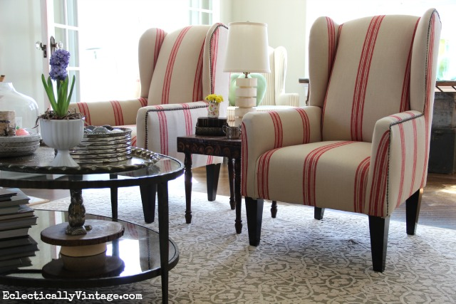 Love the red grain sack chairs in this beautiful living room kellyelko.com