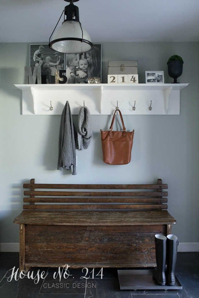 Small mudroom is large on style - love the rustic bench kellyelko.com