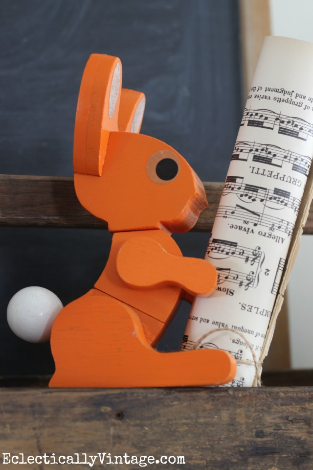 Vintage orange 3d rabbit puzzle - such a cute part of this spring mantel kellyelko.com