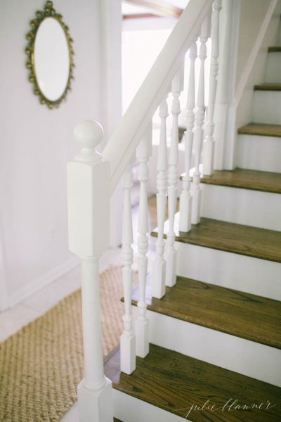 White painted staircase kellyelko.com
