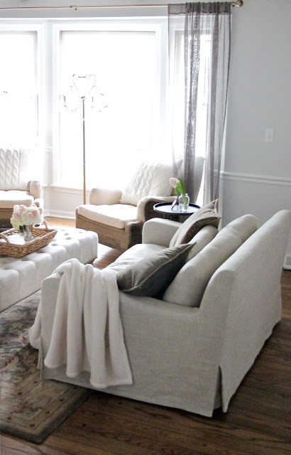 Love the texture in this neutral living room kellyelko.com