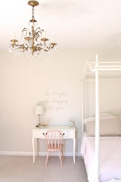 Pretty little girls bedroom - love the canopy bed and crystal chandelier kellyelko.com