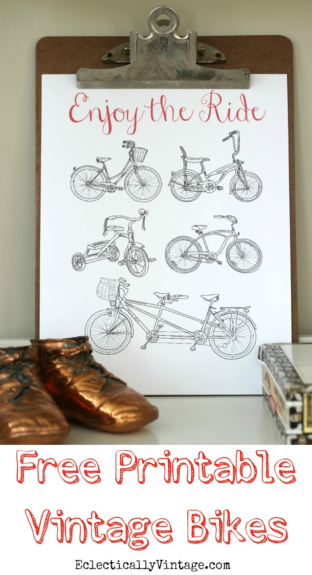 "Click to download this FREE ""Enjoy the Ride"" printable - I love the collection of vintage bikes kellyelko.com"