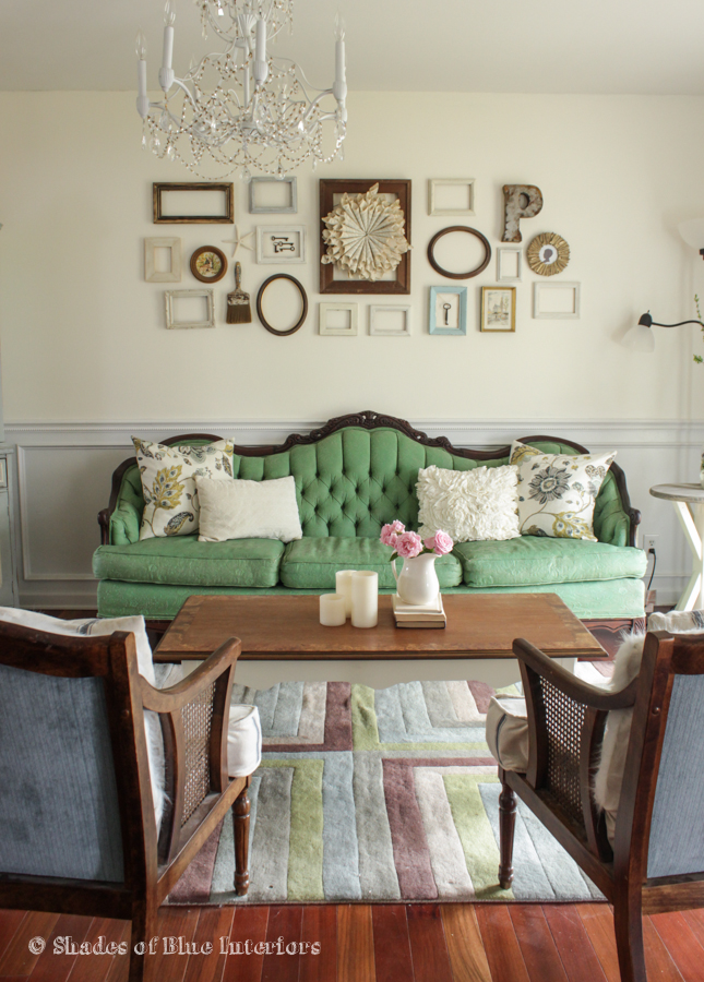 Eclectic Home Tour Shades of Blue Interiors - love the vintage green sofa! kellyelko.com