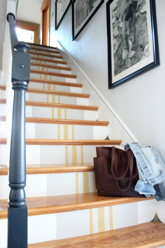 Eclectic Home Tour Tanya Clark - love the grain sack striped stairs kellyelko.com