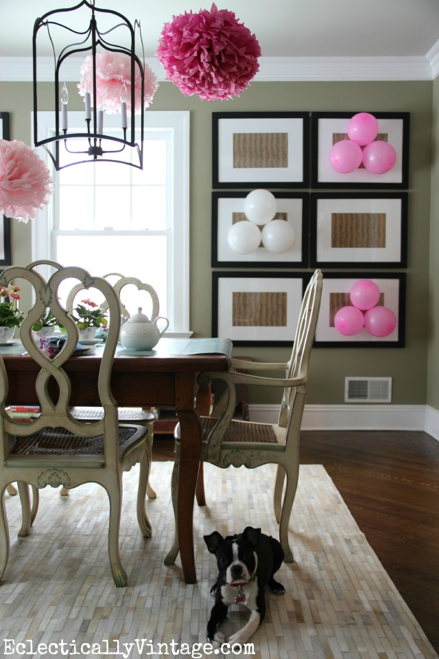 Love this festive dining room decorated for a fun spring tea party - love the way she hung the balloons from the art kellyelko.com