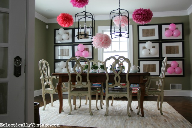 Fun mother's day tea party ideas to wow your guests! Love the pink pom pom flowers! kellyelko.com
