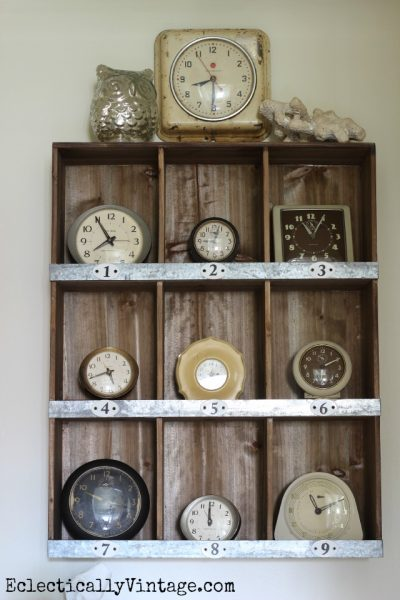 Vintage clock collection display eclecticallyvintage.com