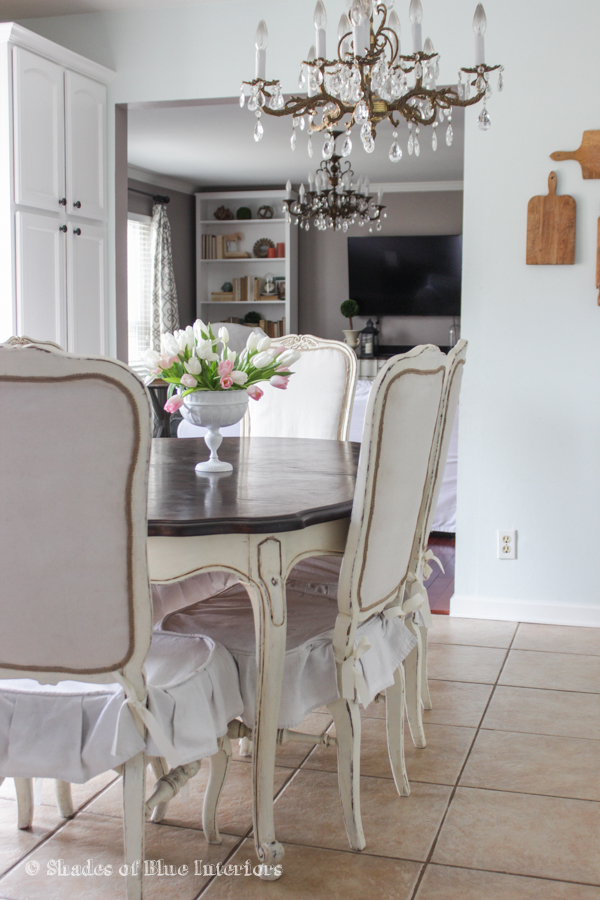 French provincial dining room set with a gorgeous crystal chandelier kellyelko.com
