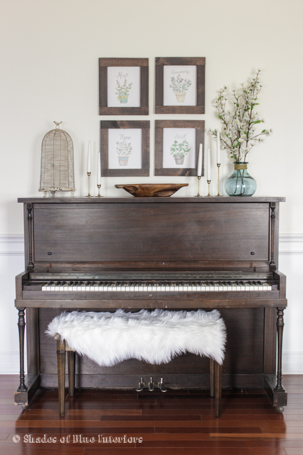 Eclectic home tour shades of blue interiors for Piano room decor