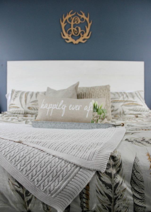Love the blue bedroom walls and the antler monogram kellyelko.com