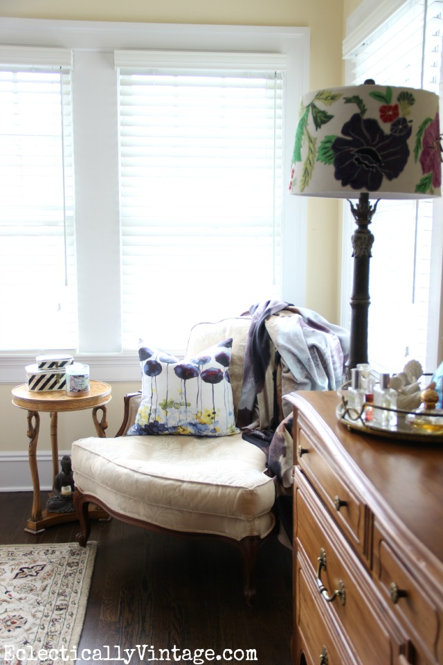 Love the embroidered lampshade and the bergere chair kellyelko.com