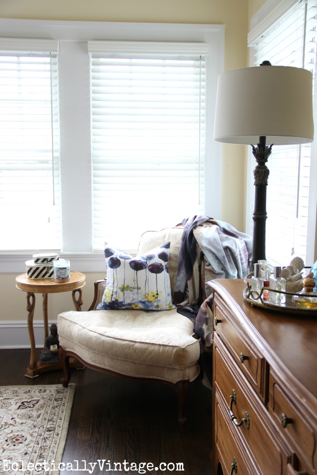 Love this cozy reading nook with the bergere chair kellyelko.com