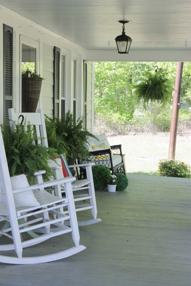 Love this charming farmhouse porch with painted floor, rocking chairs and ferns kellyelko.com