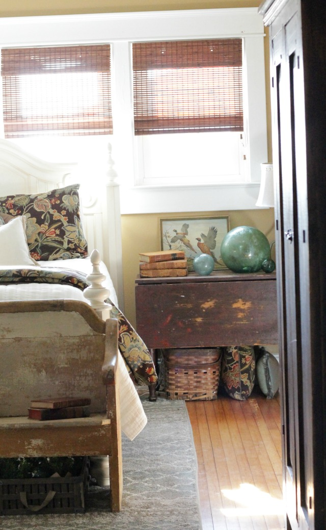 Farmhouse bedroom filled with vintage furniture kellyelko.com