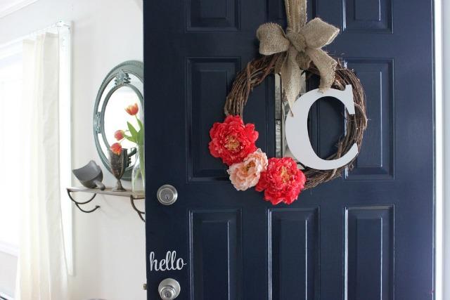 Love the black front door and monogram wreath kellyelko.com