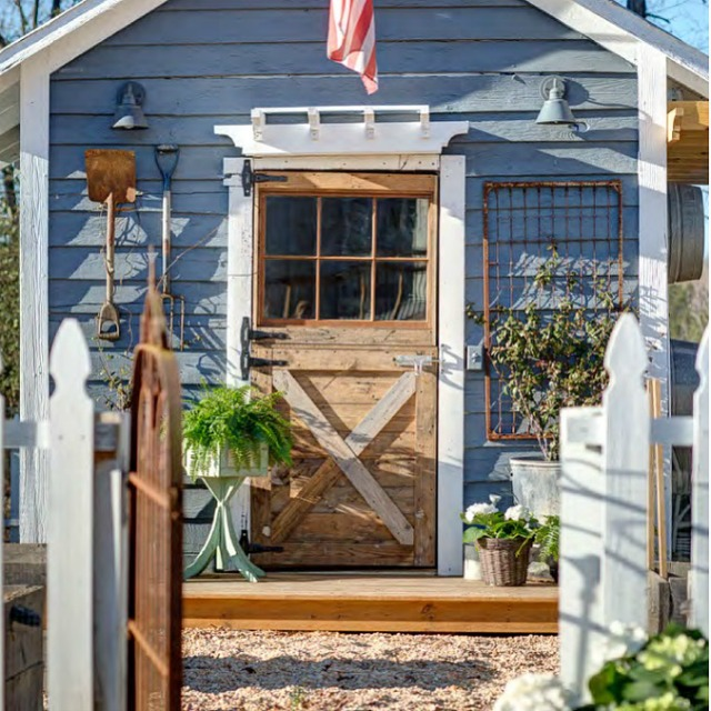 Rustic outdoor potting shed - love all the tools on display kellyelko.com